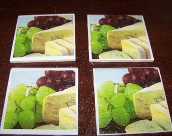 Napkin Drink Coasters - Cheese and Grapes