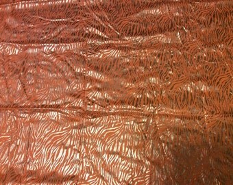 Metallic 2 Way Stretch Fabric Orange Silver Tiger Zebra Animal Print