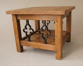 Solid Reclaimed Oak Side Table with Gothic Cast Iron Spindles, and  Ebony Wax Finish