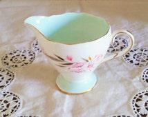 Vintage Foley Bone China Milk Jug Creamer. Evesham Pattern English China. Floral With Duck Egg Blue Green Inside. Pink Flowers Leaves Gilt.