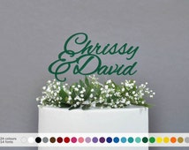 25 colors Personalized name wedding cake topper, Custom couple name cake topper, cake toppers for wedding, names on cake,