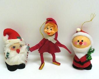 Vintage Christmas Ornaments Pixie Elf & Santas