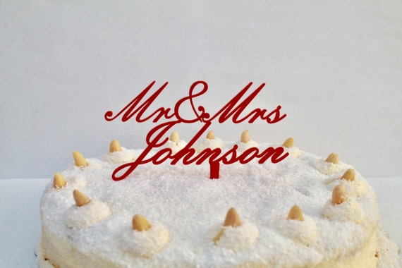 Personalized Wedding Cake Toppers, Wedding Cake Toppers, Custom Name Cake Topper, Personalised Mr And Mrs, Party Favor Decorations