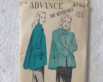 c1940 Sewing Pattern.  ADVANCE #4762 Misses Women Size 14.  Uncut
