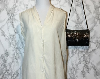 Silk Ivory Sleeveless Button Up Blouse Top 80s 90s