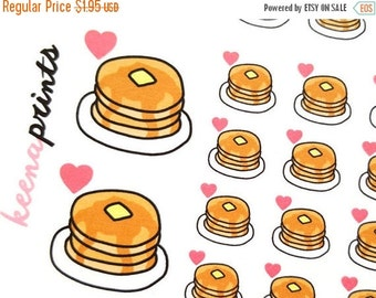 ON SALE A176 | Pancake Food Breakfast Repositionable Stickers for Erin Condren Life Planner, Filofax, Plum Paper
