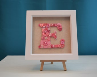 Personalised Button Letter/Initial Picture Art in Box Frame. Hand made gift for any occasions, new babies, nursery decoration or Birthdays.