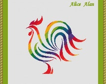 Cross Stitch Pattern Bird silhouette Rooster rainbow and monochrome tribal Counted Cross Stitch Pattern/Instant Download Epattern PDF File
