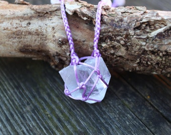 Handmade Lilac Macrame Clear Quartz Necklace