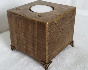 Square wooden candlestick, Candlestick, Candleholder, Candlestick wood, Square candlestick, Recycled wood candleholder,Home decor,Gift,