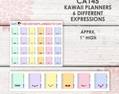 CA145 | Kawaii Planners | 6 Colors & Expressions | 24 kiss-cut stickers | Fits most planners, EC, MAMBI, SMC, and Small Planners