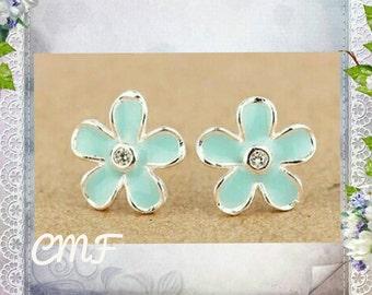 Beautiful Blue Flower Earrings 925 Sterling Stud