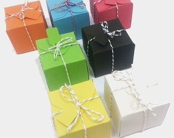 Handmade Small Gift Boxes, Wedding Favors, Party Favors, Baby Shower Favors, Favor Boxes, Green Party Favors, Orange Wedding Favors