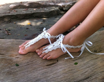 Barefoot sandals, wedding, beach wedding footwear, white bridal lace and pearls
