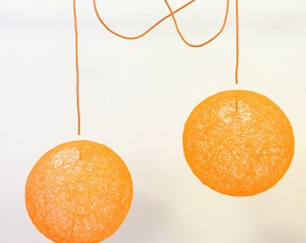 "Sphere - Orange modern pendant light - sphere hanging light - globe hanging lamp ceiling (14""-35 cm)"