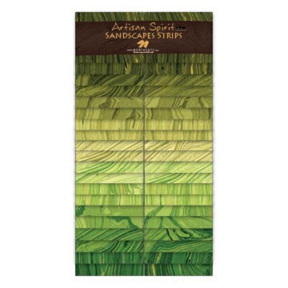 Northcott Artisan Spirit Sandscapes 'n Strips 2 1/2 in strips Moss / Green Apple