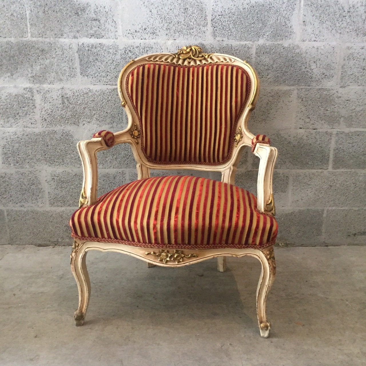 Creme french chair antique louis xvi fauteuil amrchair bench table original c - Fauteuil crapaud beige ...