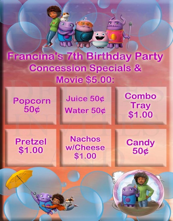 Home The Dreamworks Movie Birthday Party Concession Stand Poster 26 X ...