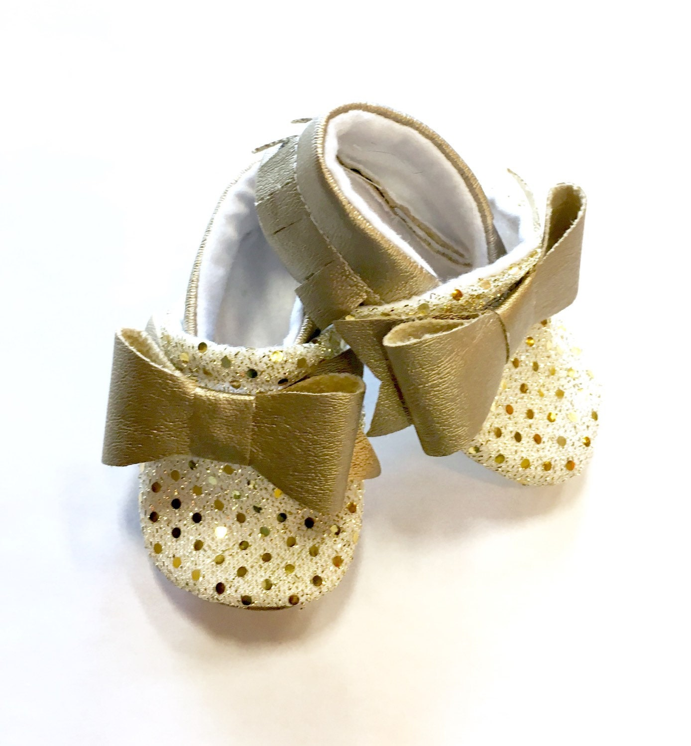 Gold Sequin Baby Shoes by MOCSbyM on Etsy