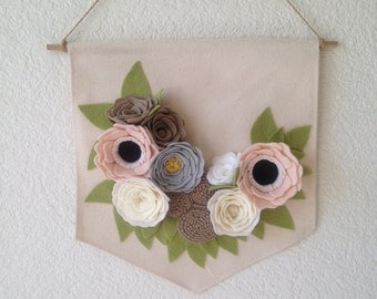 FELT FLOWER BANNER // Canvas Banner // Wall Banner // Wall Hanging // Floral Banner // You Pick Colors