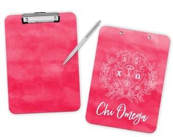 ChiO Chi Omega Watercolor Crest Sorority Clipboard
