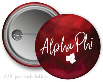 "Alpha Phi Watercolor Script Single or Bulk 2.25"" Pinback Button"