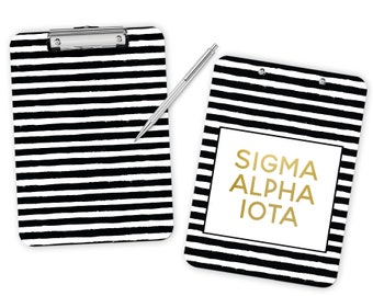 SAI Sigma Alpha Iota Striped Gold Clipboard