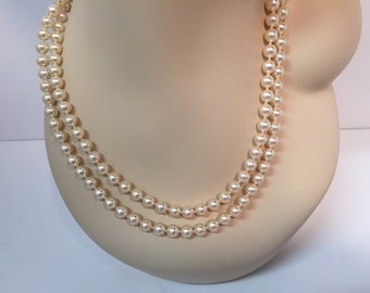 Vintage Japan double strand pearl necklace with rhinestone clasp