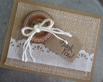 Homemade Thank You Card, Rustic Thank You, Kraft Thank You Card, Hand Stamped Kraft Thank You, Thanks a Bunch, Thanks a Million, Thanks