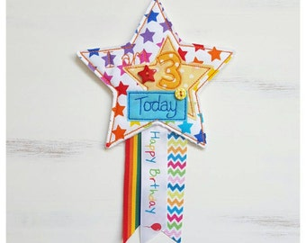 3rd birthday rosette, Rainbow star rosette, I am 3 today birthday badge