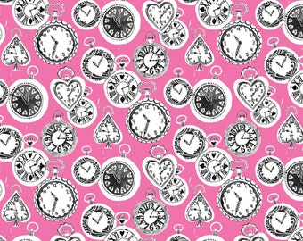 Wonderland - Late For A Date Fabric - Pink - Sold by the 1/2 Yard