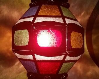 Moroccan Multicolor Glass Lantern. Rustic Finish