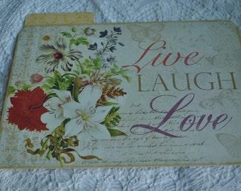 Live Laugh Love File Folder.   Junk journal, journal cover.