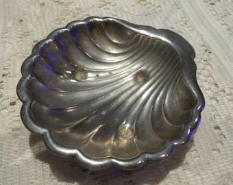 Antique 1920s Silver Plated  Shell Ashtray Sea Shell Tray