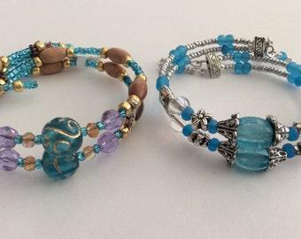 Turquoise Wrap Bracelet, Turquoise Goldstone Bracelet, White Turquoise Bracelet, handmade beaded bracelet Cuff, Heart Wrap Bracelet , Boho