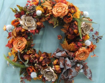 FALL HARVEST WREATH, Fall Wreath, Thanksgiving Wreath, Autumn Wreath, Door Wreath, Silk Flower Wreath, Silk Floral Wreath, Wreaths,
