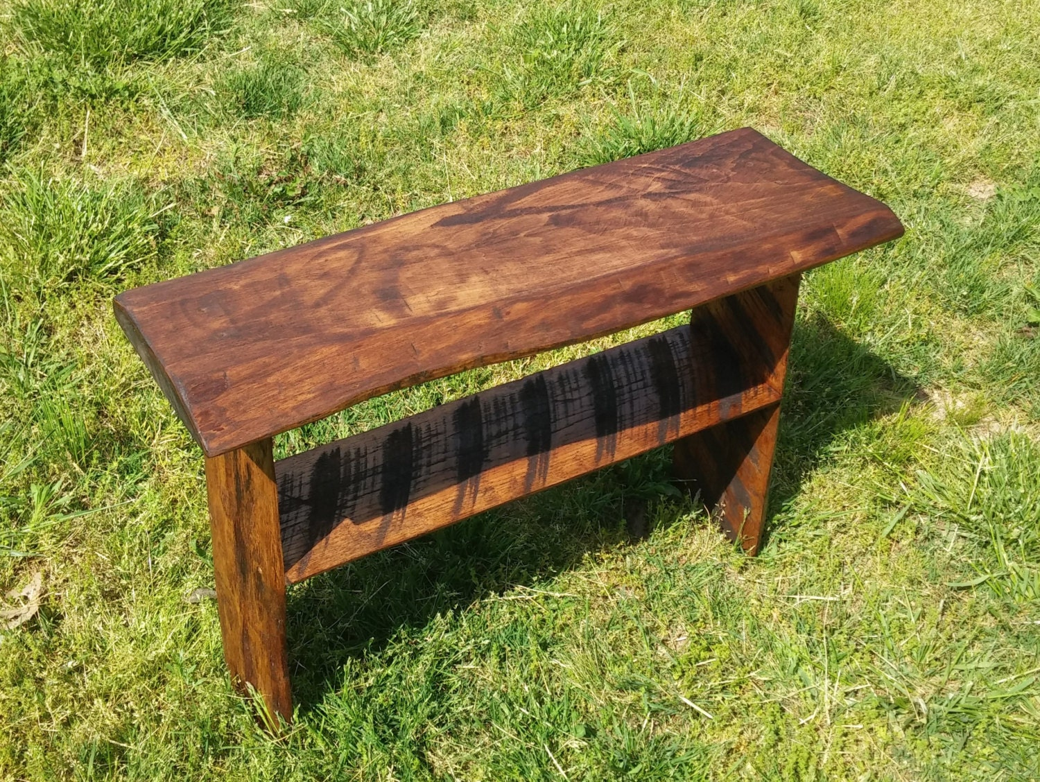 Rustic Live Edge Slab Bench 32in Long 11in Wide 22in Tall