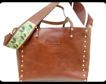 Leather shopping bag with embroidery-leather shopping bag with embroidery