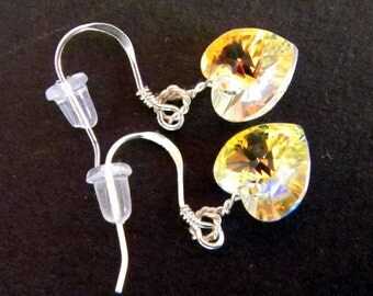 Swarovski Crystal hearts and Sterling Silver earrings