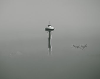 Space Needle in Fog in White Mat
