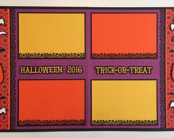 """2 - Premade 12x12 """"Happy Halloween/Trick Or Treat"""" Scrapbook Page Layouts"""