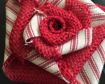 Red Burlap Flower with Red Stripe Ticking Valentines Day Christmas Wreath Tree Ornament Holiday Table Centerpiece Rustic Cottage Shabby Chic