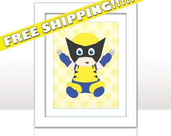 Baby Wolverine - Marvel Superhero Print - FREE SHIPPING - Wolvy