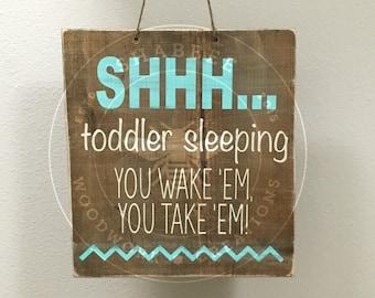 Double sided toddler/baby sleeping door sign