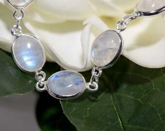 Rainbow moonstone bracelet/ Sterling Silver Bracelet / Bluefire moonstone Bracelet / Gemstone Bracelet
