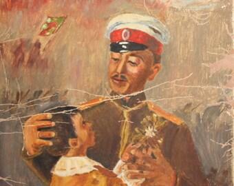 1950 Impressionist Portrait General & Child Oil Painting Signed
