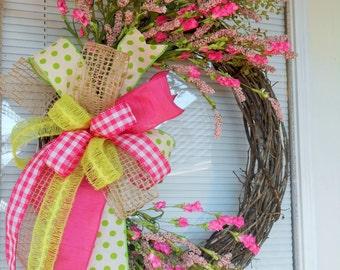 Monogram wreath, Spring monogram wreath, Spring wreath, Double door wreath, Summer wreath, Spring floral wreath, Spring grapevine wreath