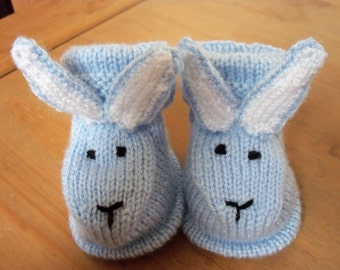 Hand knitted bunny bootees