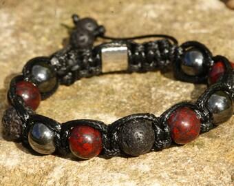 Bracelet stone of semi-precious Jasper breccia/Hematite/lava man
