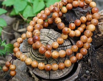 6mm/8mm Natural Chinese yew  Wooden Beads Loose Mala Beads 108 Beads Meditation Prayer Beads Japa Mala Buddha
